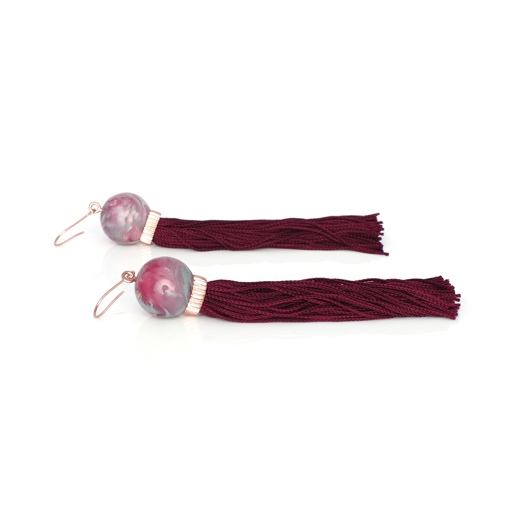Marble Resin Tassel Earring