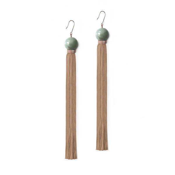 Long Tremble Tassel Earring - Aventurine