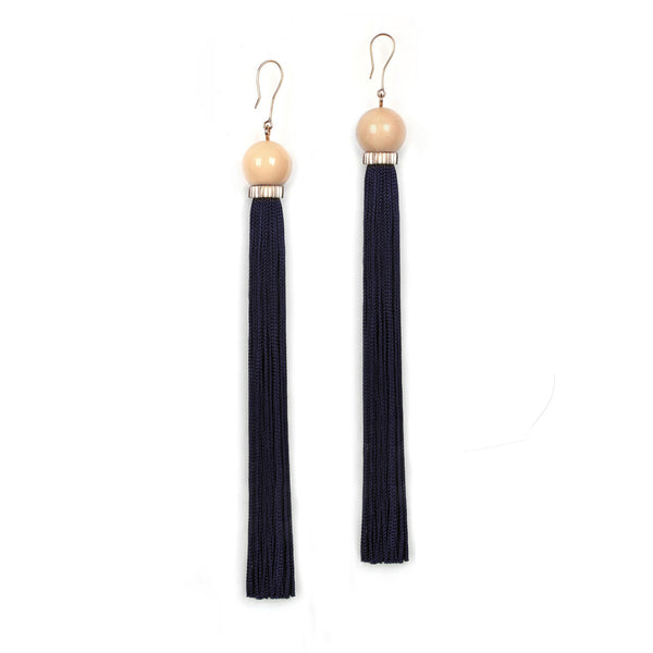 Long Tremble Tassel Earring - Midnight