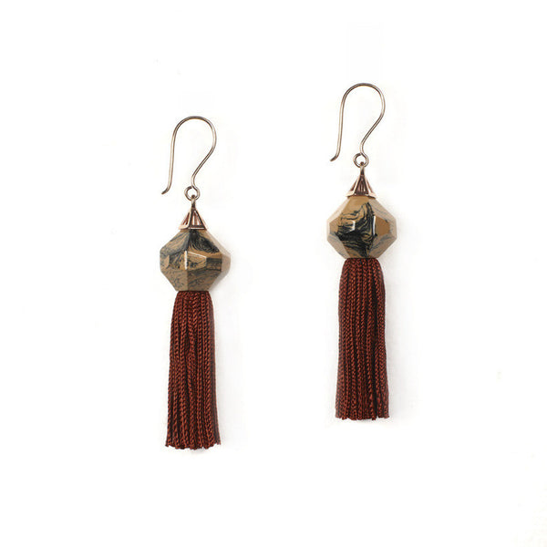 Mythical Tassel Earring - Baltic Granite