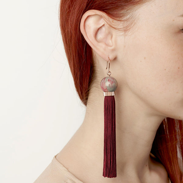Long Rose Tassel Earring