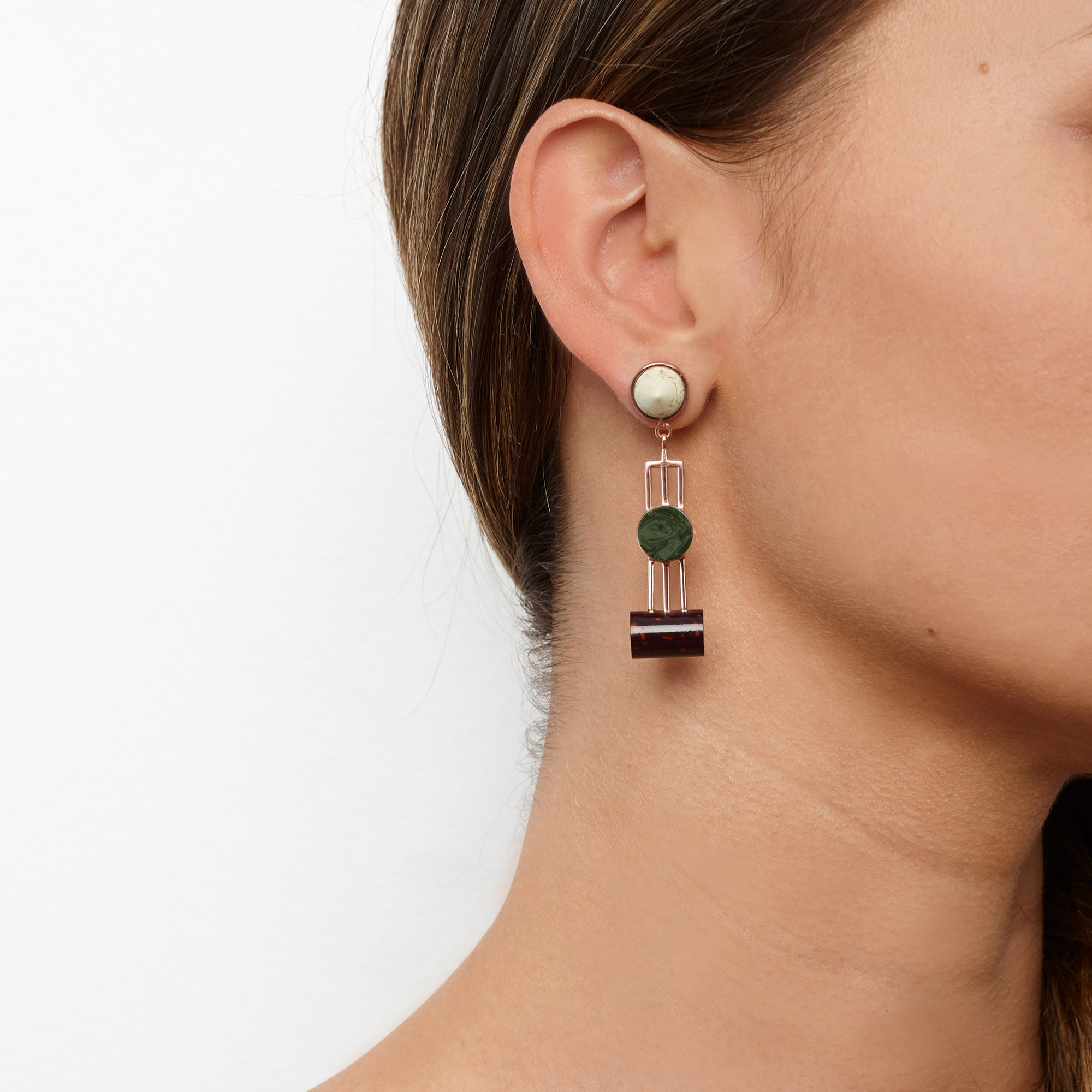 PRE ORDER // Obelisk Earrings - Aubergine Chip