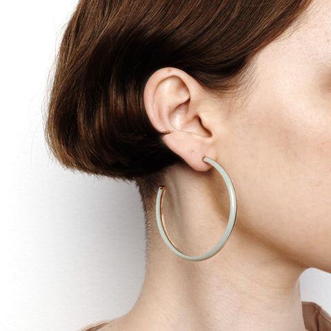 Crescent Hoop Earrings - Blue Laced Agate
