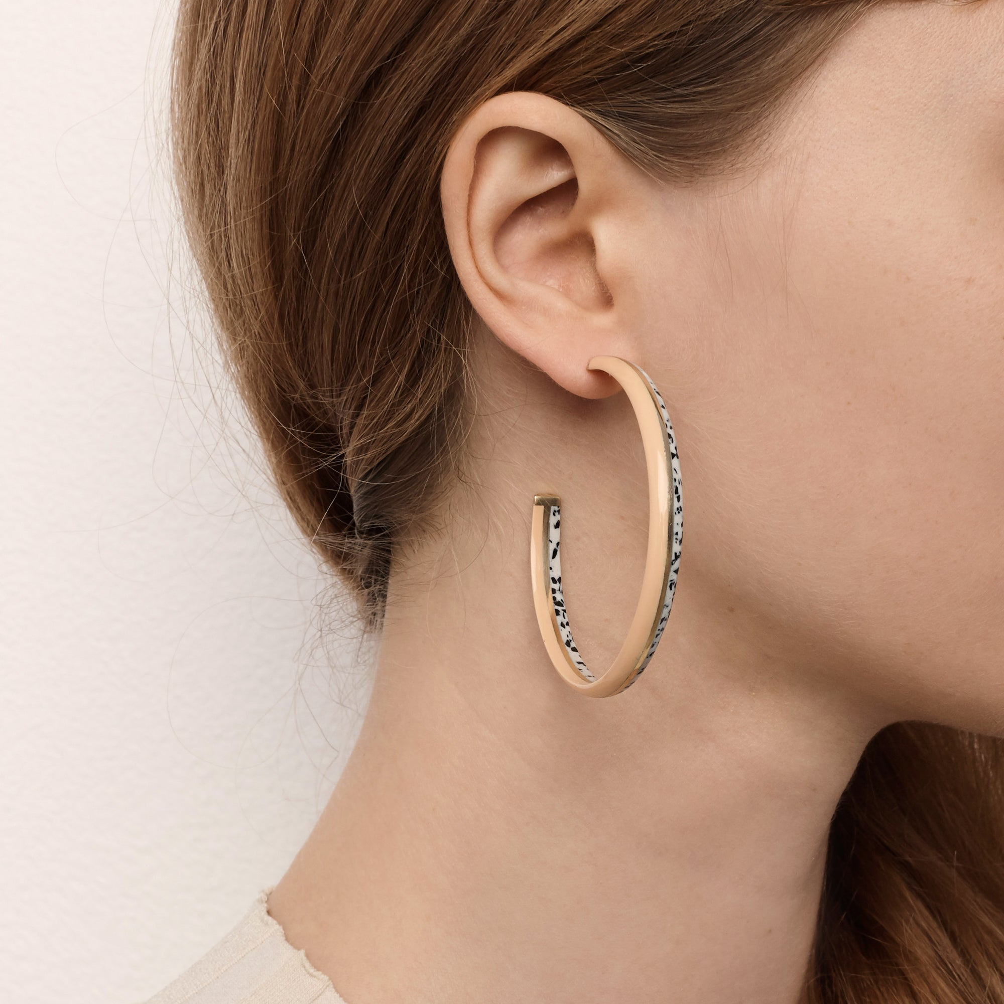 Crescent Hoop Earrings - Peach