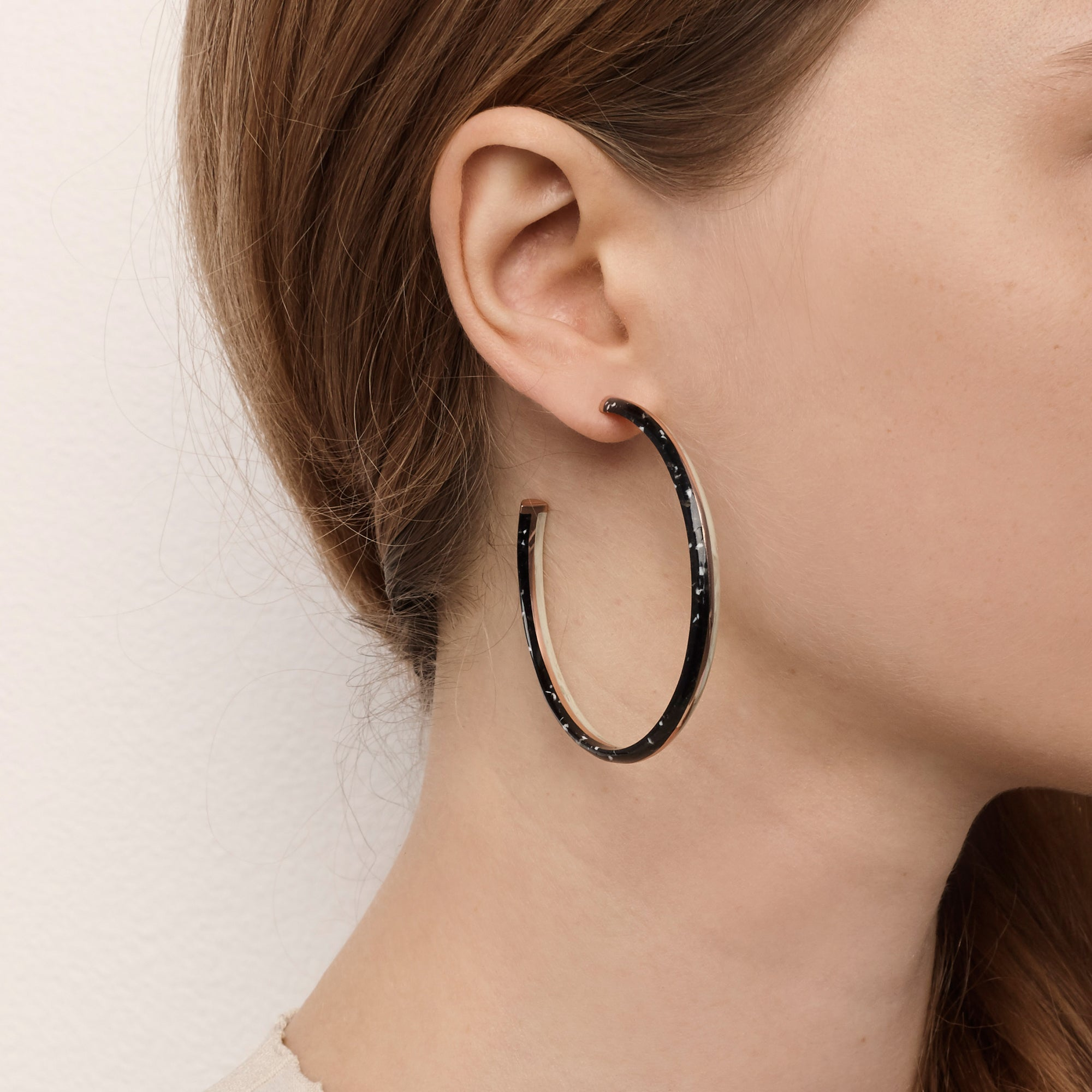 Crescent Hoop Earrings - Black Granite