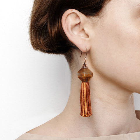 Mythical Tassel Earring - Rust
