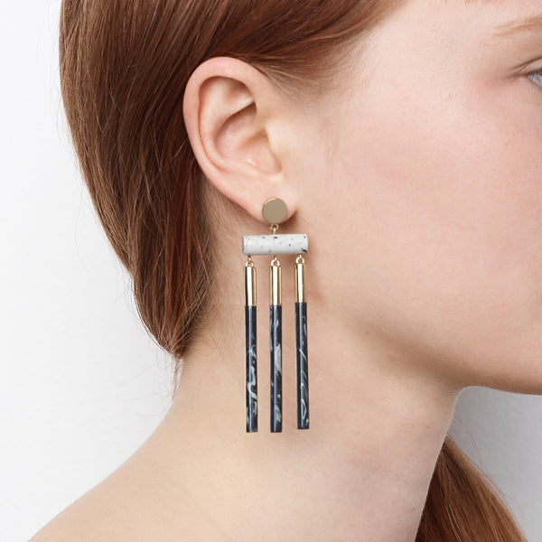 Isotope Earrings - Midnight Ash Dust