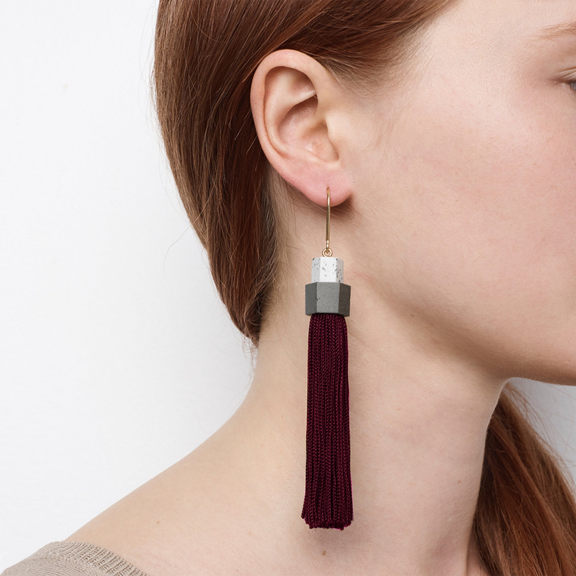 Pendulum Tassel Earrings - Burgundy