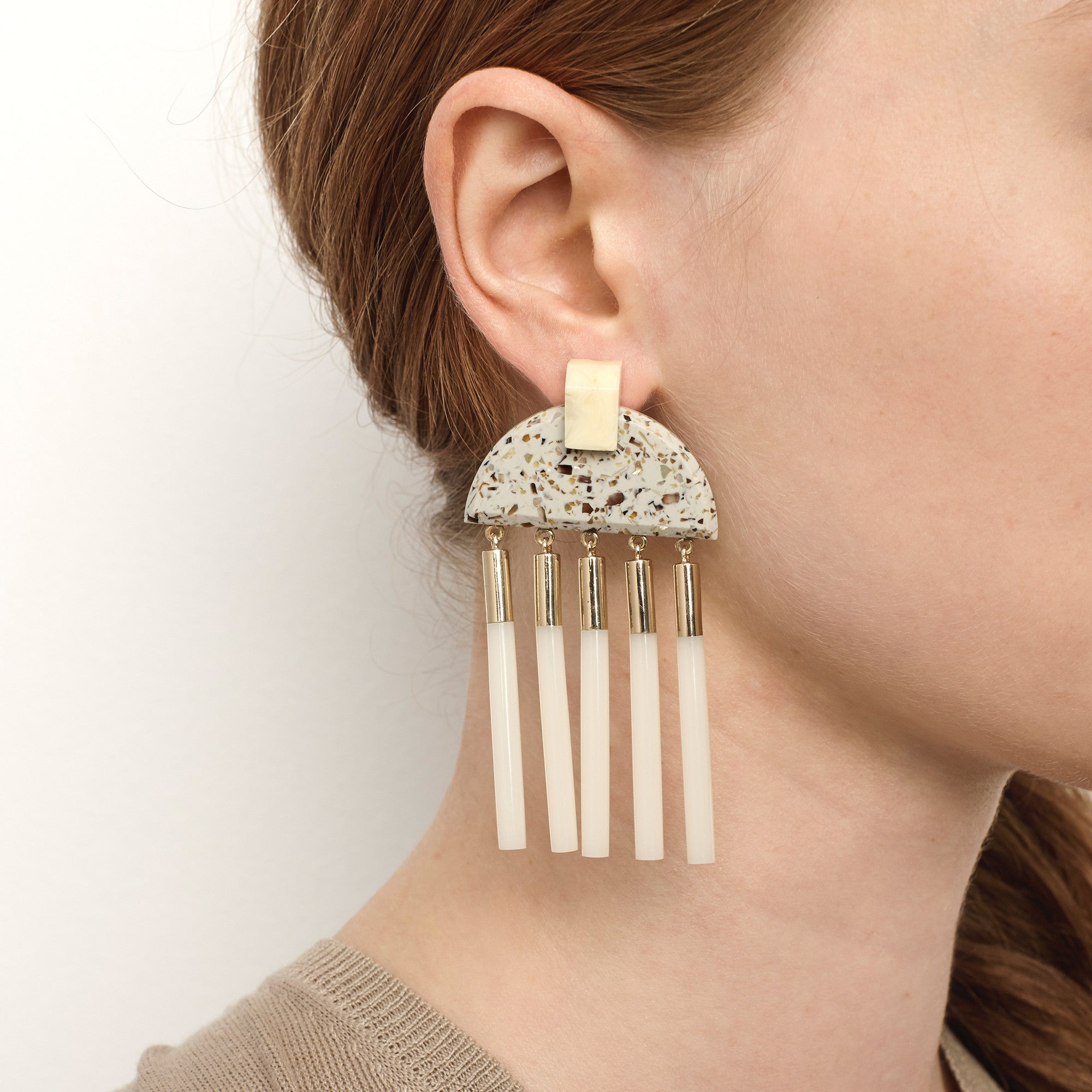 Meridian Earrings - Light Granite