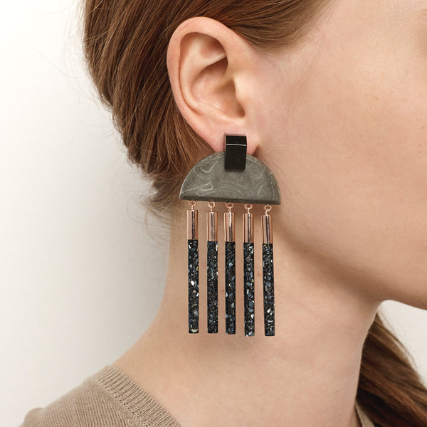 Meridian Earrings - Concrete
