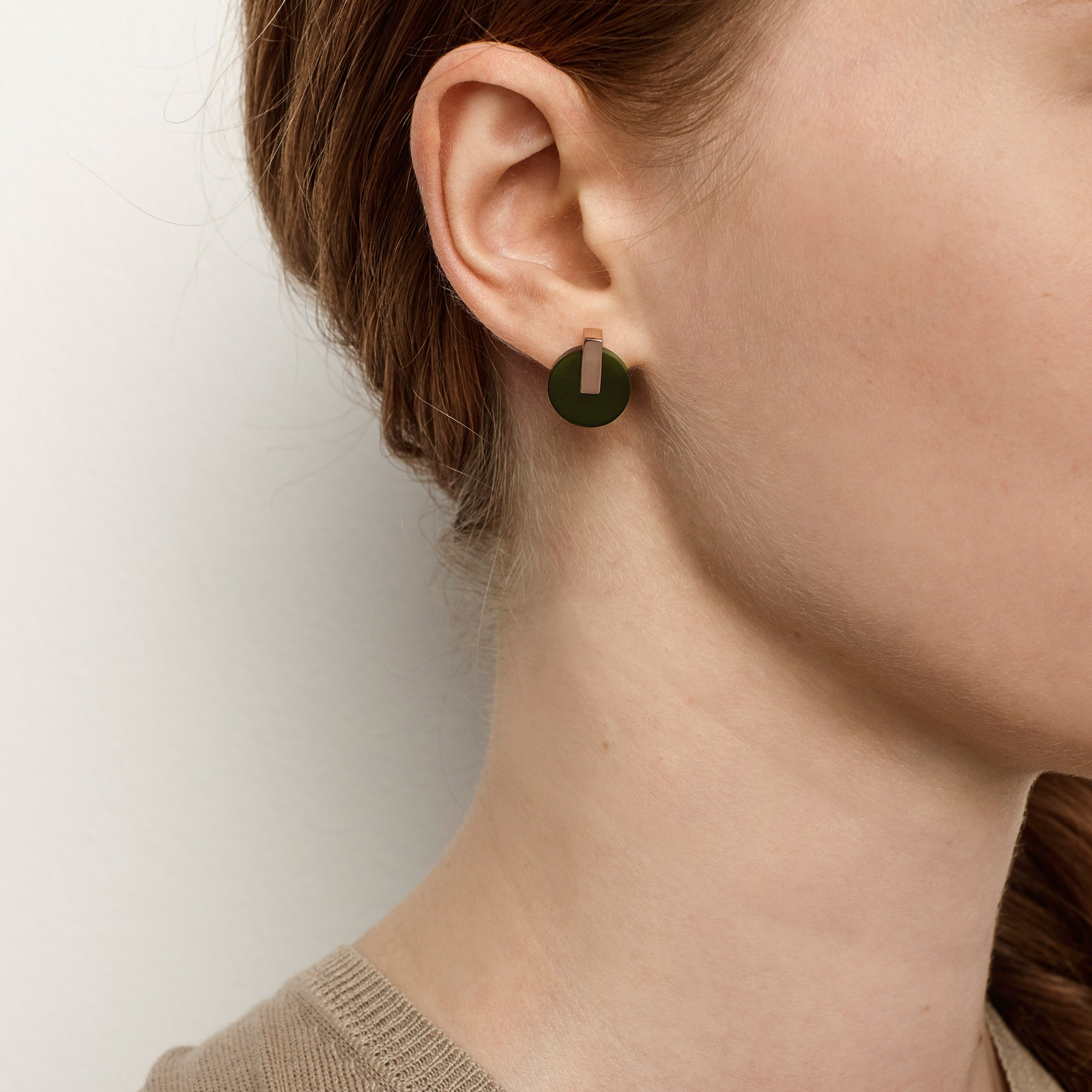 Resonance Stud Earrings - Olive