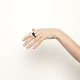 Mother of pearl & natural polished brass ring, designed in Australia by Studio Elke.