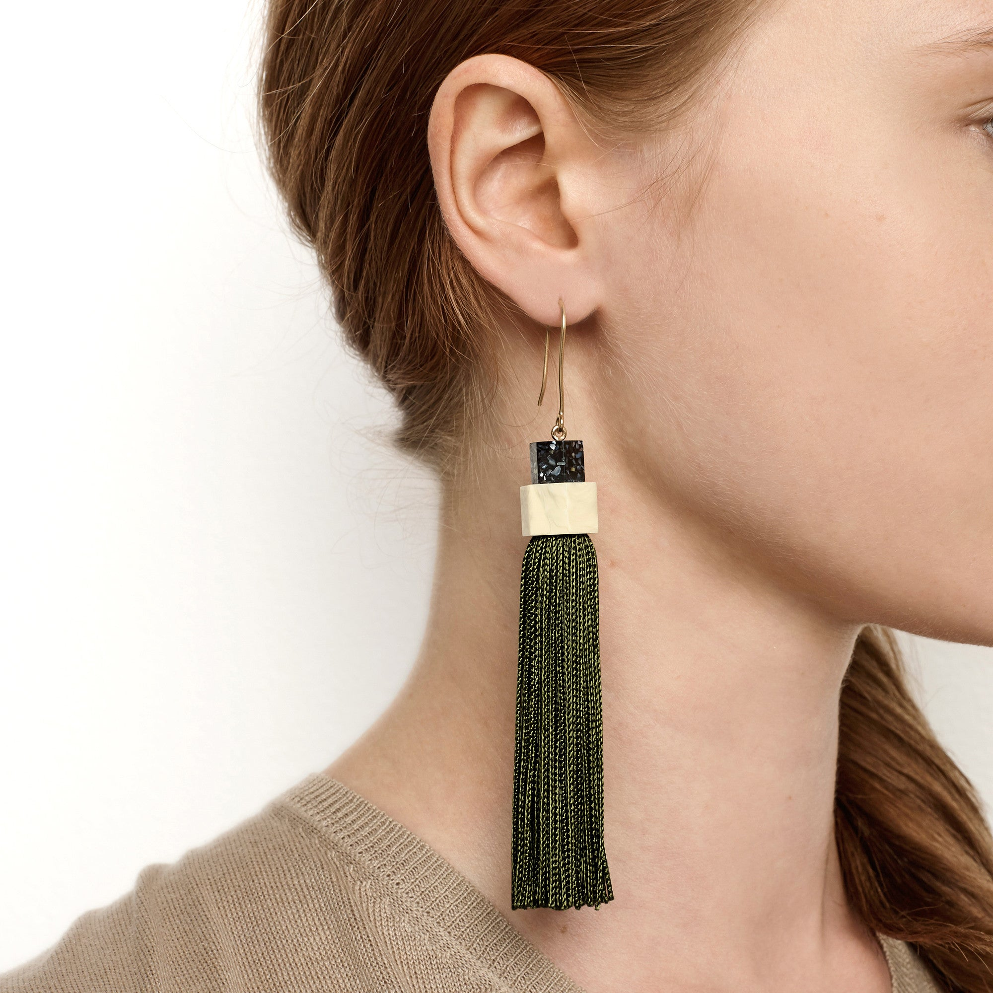 Pendulum Tassel Earrings - Olive
