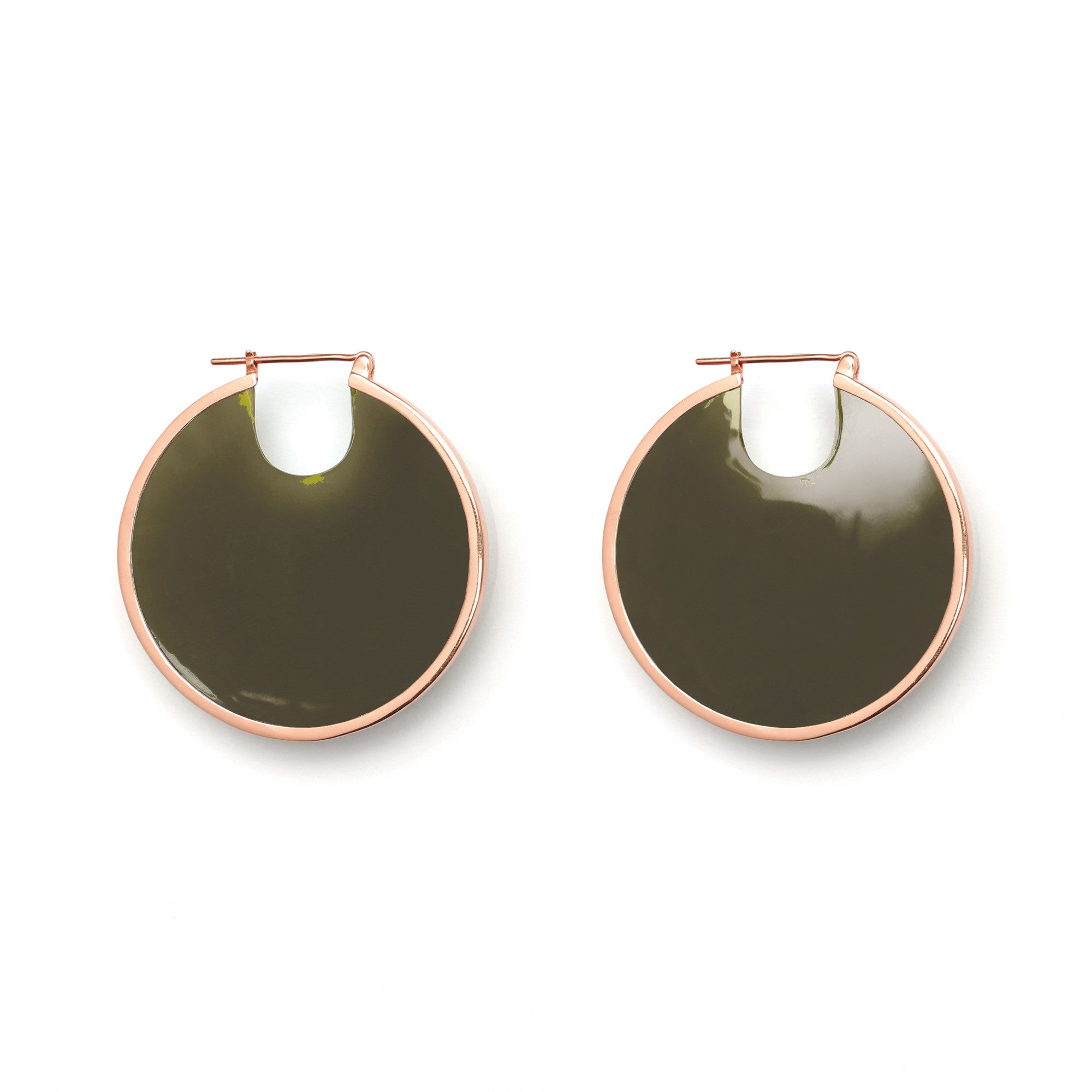 PRE ORDER // Eclipse Hoop Earrings - Olive