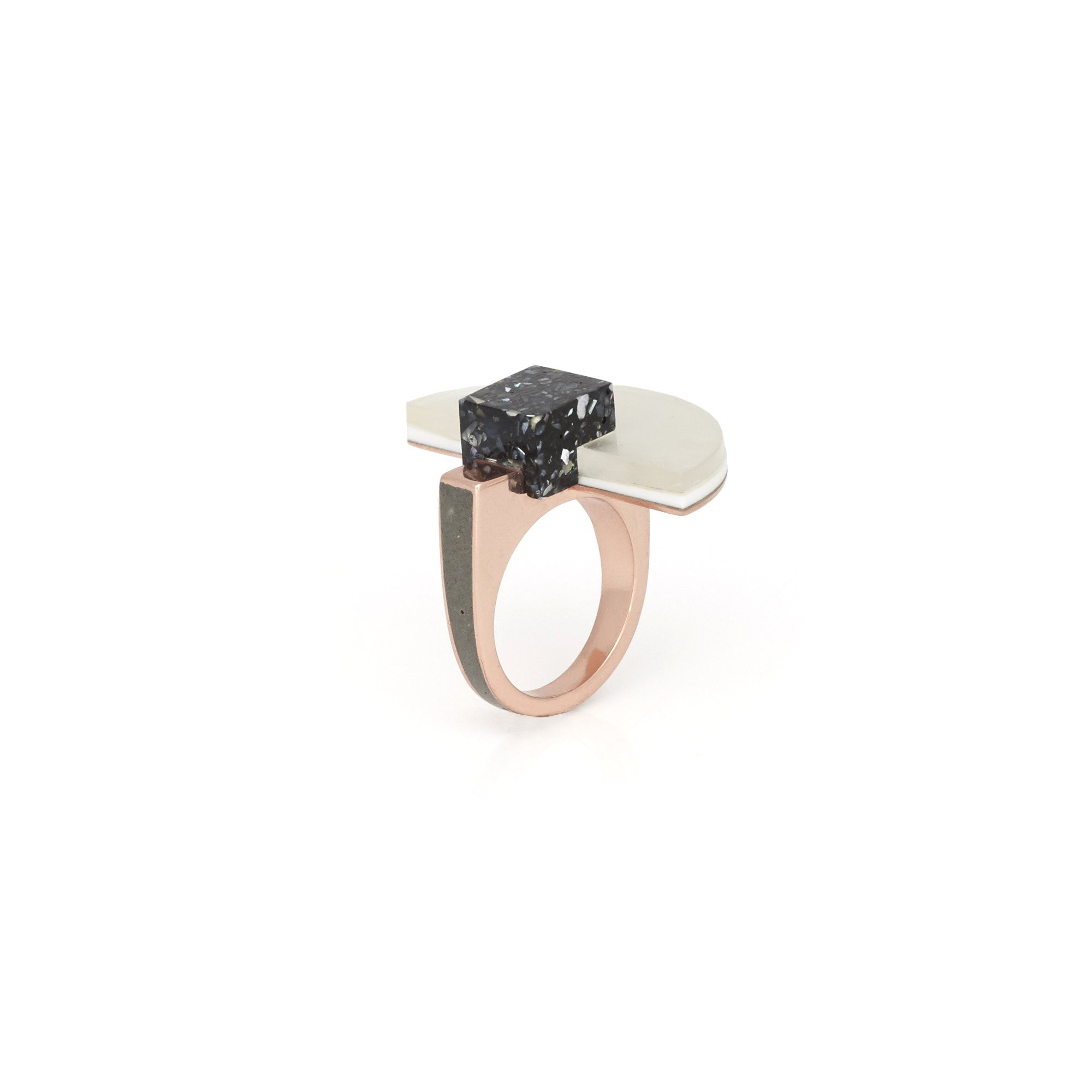 Statement fashion ring featuring hand cut mother of pearl and polished brass.