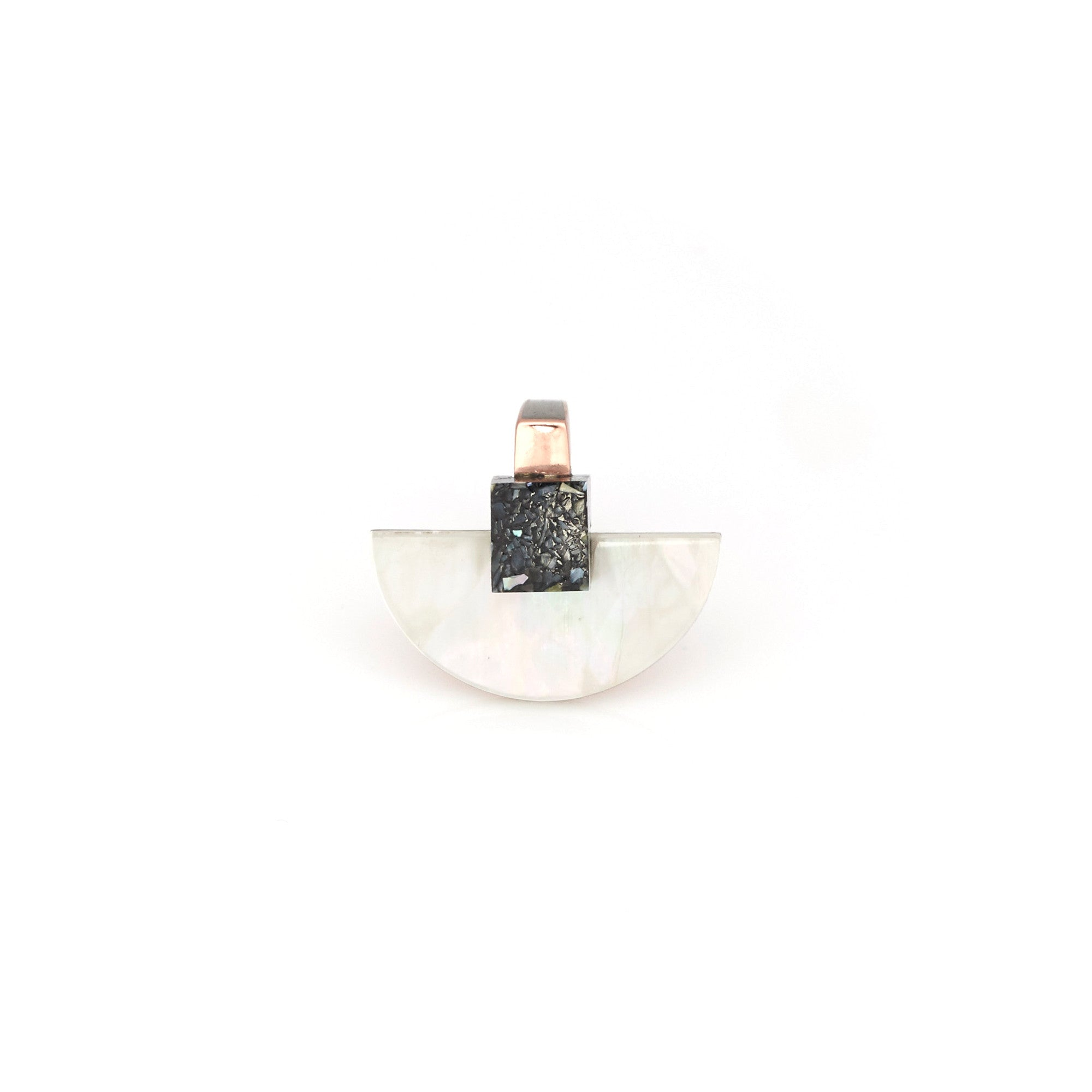 Fan ring featuring genuine mother of pearl, polished brass & textured resin.