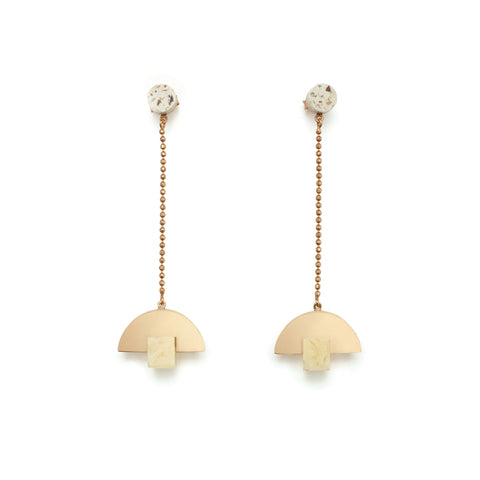 Gold plated luxe fashion earrings by Studio Elke.