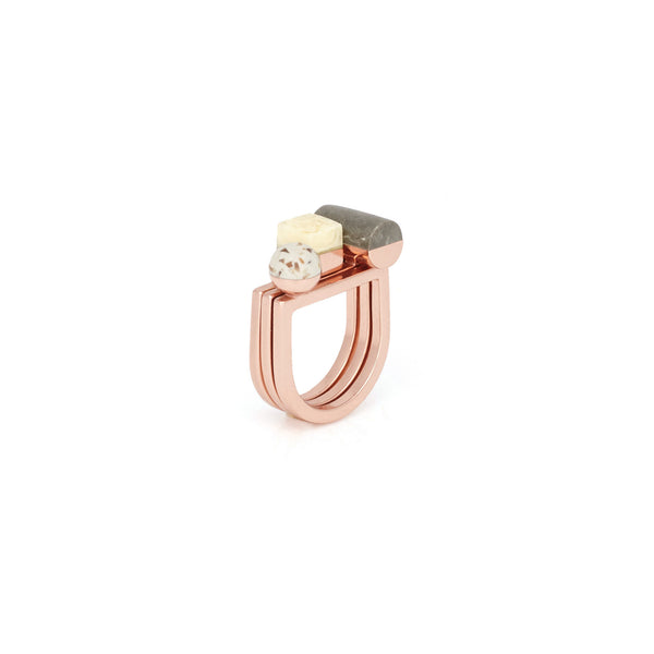 Rose gold stack fashion statement rings by Studio Elke.