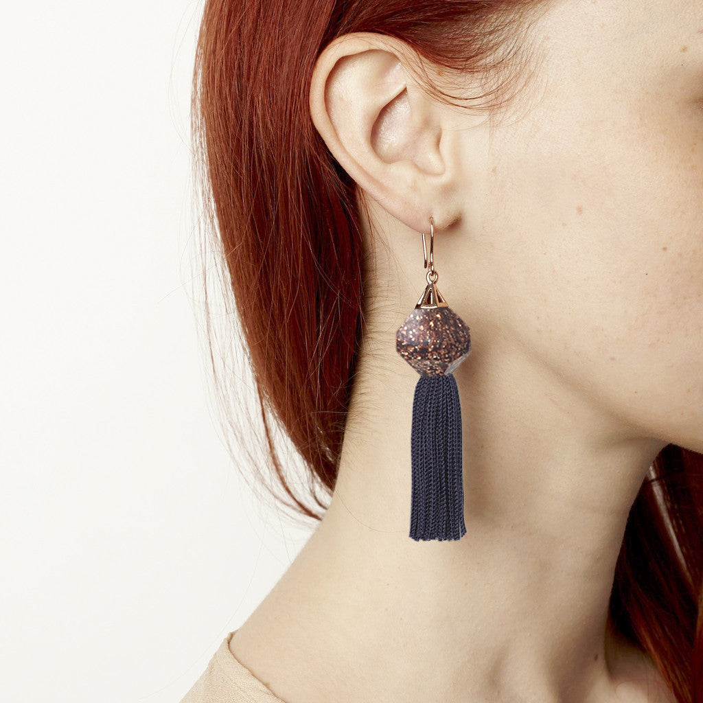 Mythical Tassel Earring - Goldstone