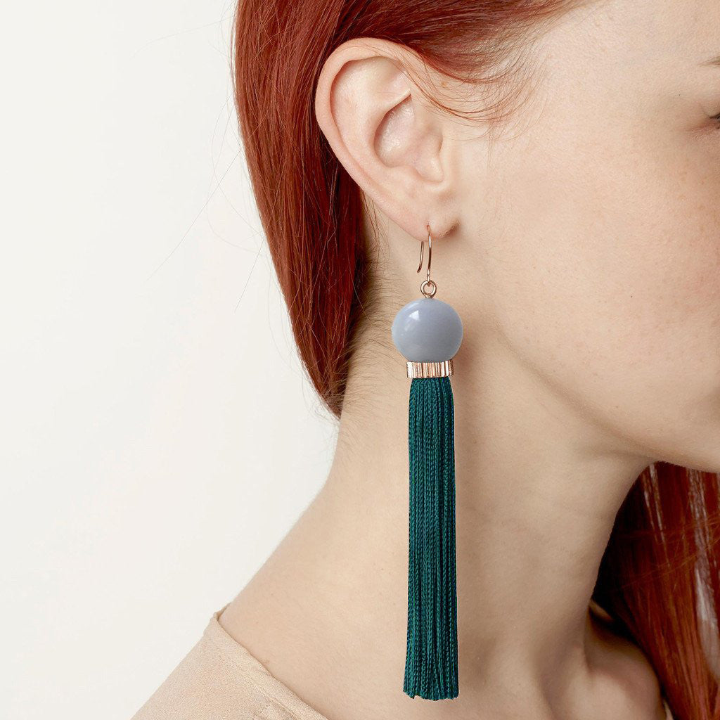 Tremble Tassel Earring - Teal