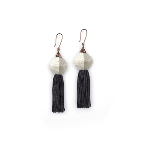 Silver & Navy Tassel Earrings