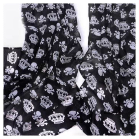 CLEARANCE! Scarf: Skull/Crown - Black