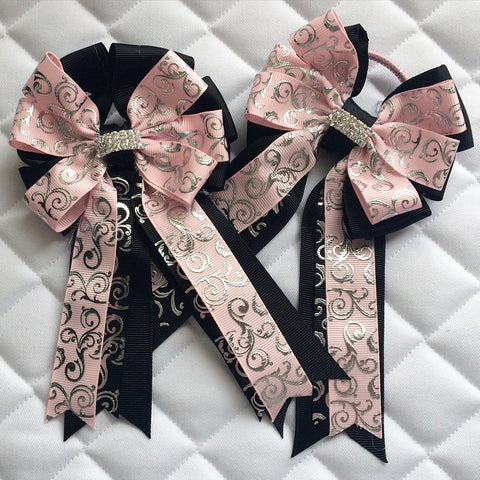Show Bow: Pink/Black (#0119-01)