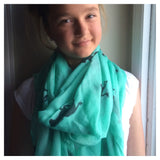 Scarf: Ponies - Black on Mint 💕 clearance