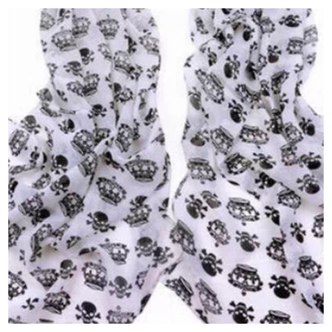 CLEARANCE! Scarf: Skull/Crown - White