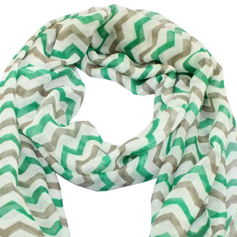 Scarf: Chevron - Green/Taupe