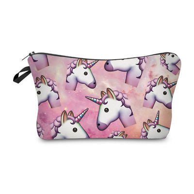 NEW! Cosmetic Pouch: Unicorn Emojis ~ Pink