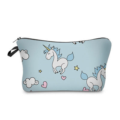 NEW! Cosmetic Pouch: Unicorns ~ Blue.