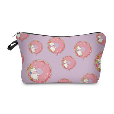 Cosmetic Pouch: Unicorns & Donuts - Lavender