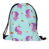 Drawstring Bag: Unicorn - Diva on teal