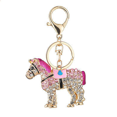 Keychain / Bag Charm: Crystal Carousel Horse - Pink
