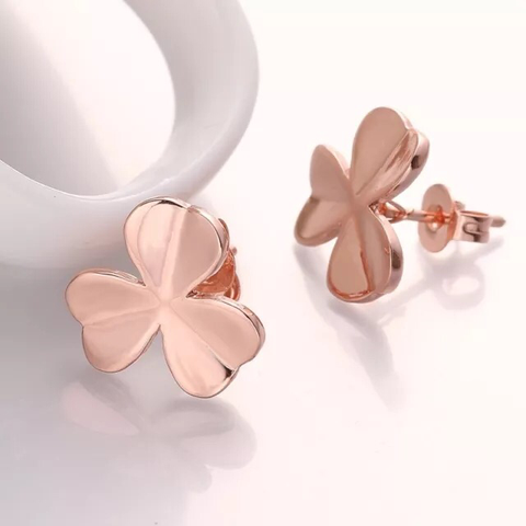 18k Earrings: Clovers - Rose Gold