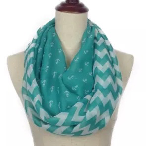 Infinity Scarf: Anchor/Chevron -Teal