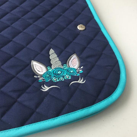 Saddlepad: Unicorn ~ Navy/Turquoise