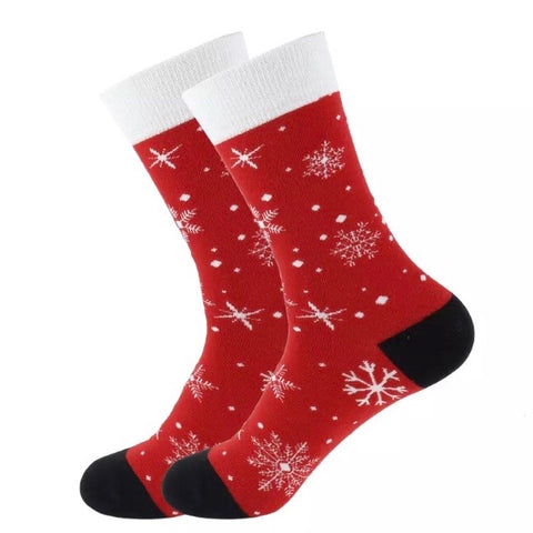 Crew Socks: Christmas ~ Snowflakes ~ Red