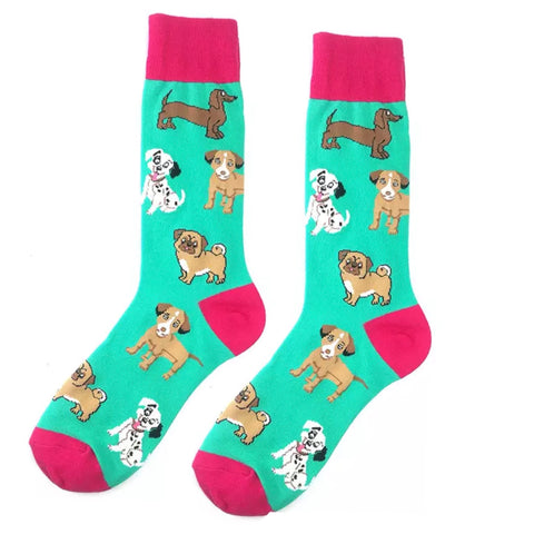 Crew Socks: Dog Party ~ Teal/Hot Pink ~ NEW!