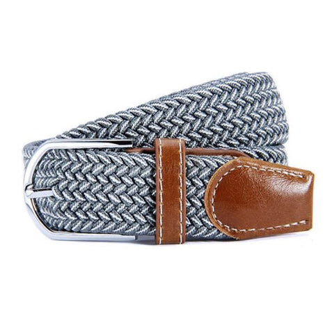 Belt: Woven Elastic ~ Gray/White with Brown