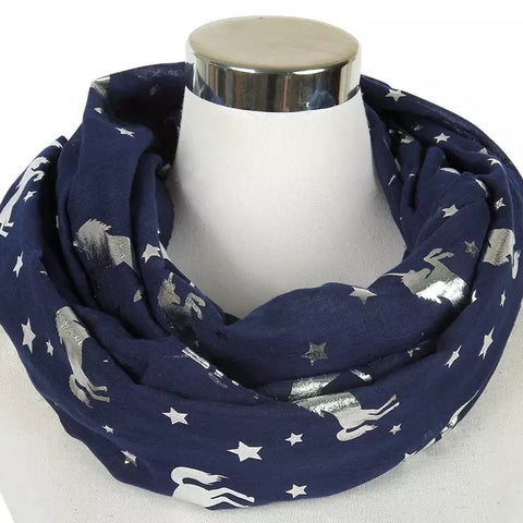Infinity Scarf: Metallic Unicorns ~ Navy/Silver 🌟 NEW