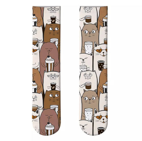 *Boot Socks: Cats With Coffee 🐱☕️