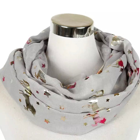 Infinity Scarf: Metallic Unicorns ~ Taupe/Holo 🌟 NEW