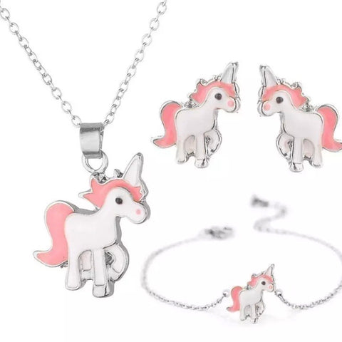 Gift Set: BOGO ~ Unicorn Earrings, Necklace & Bracelet ~ NEW