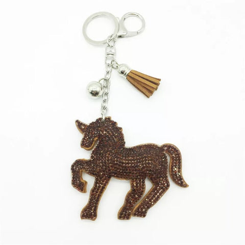 KeyChain / Bag Charm: Sparkley Unicorn ~ Brown NEW