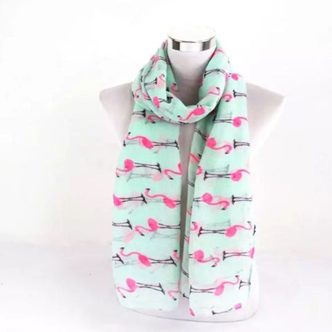 Scarf: Flamingos on mint