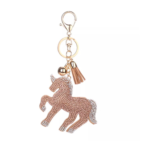 KeyChain / Bag Charm: Sparkle Unicorn ~ Champagne with Gold hardware NEW
