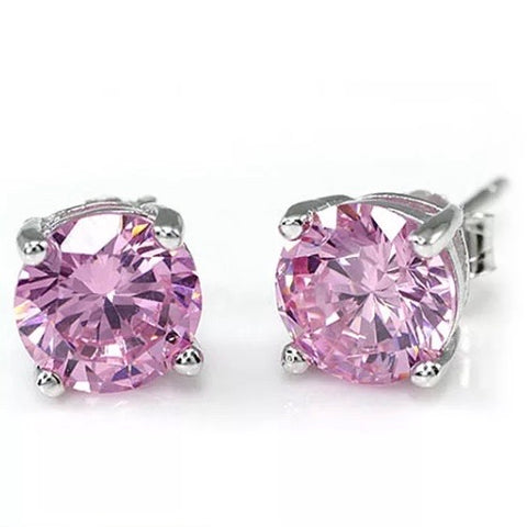 Earrings: Crystal Solitaire ~ Pink ~ 925 Silver