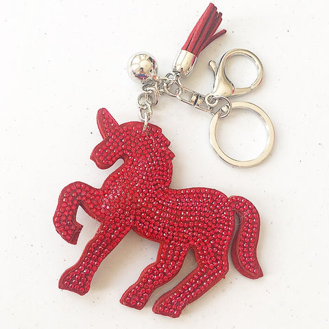 KeyChain / Bag Charm: Sparkle Unicorn ~ Red 🦄 NEW 🦄